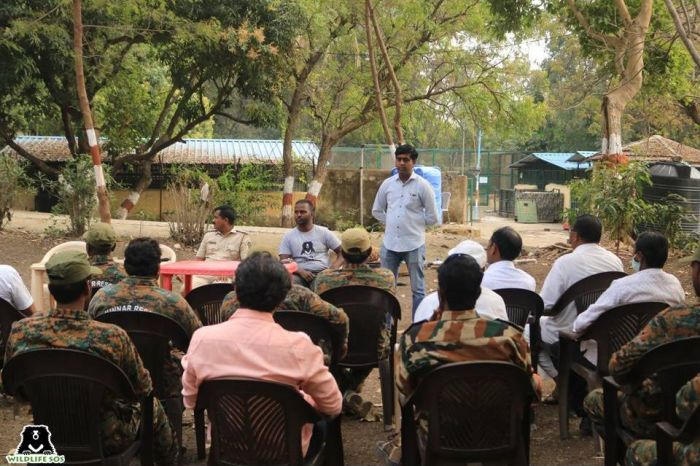 WSOS team conducting an awareness program for a mix of official authorities and villagers.