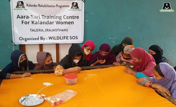 The material was provided by Wildlife SOS team for the women to practice on.