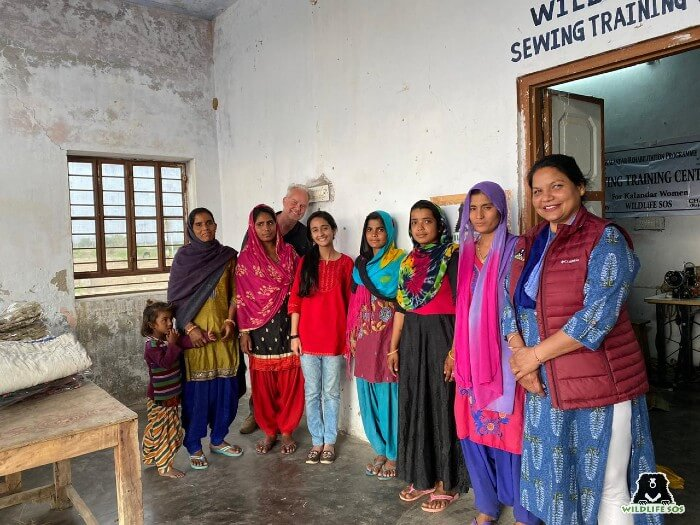 Rakhee, at one of the training centres in Rajasthan, with the members of the team.